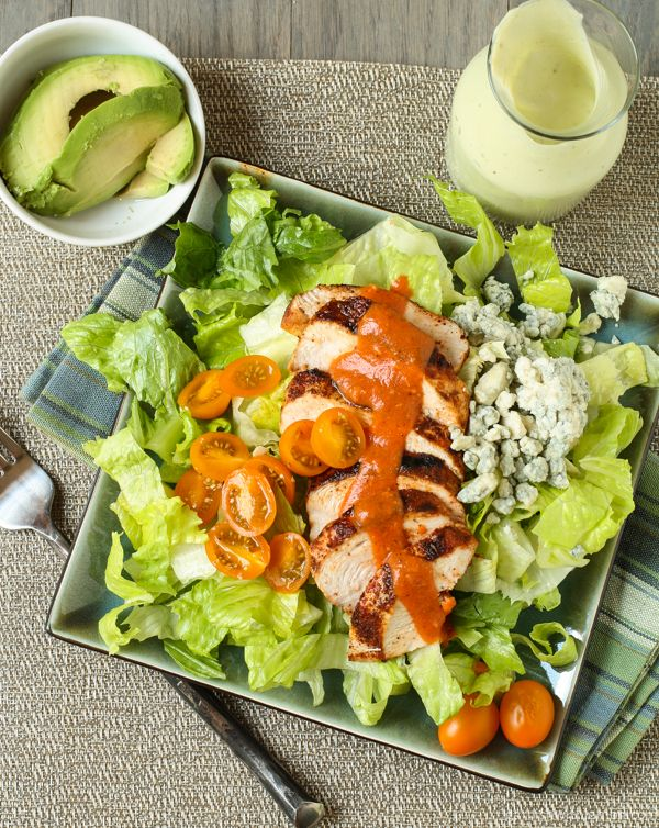Buffalo Chicken Salad with Avocado Ranch Dressing Chicken Recipe, Diet ...