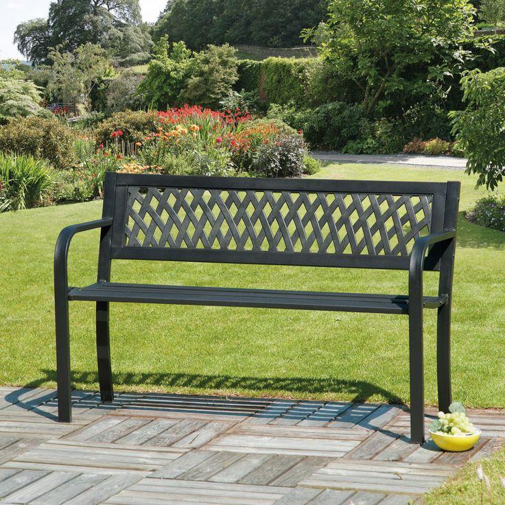 Lattice Back Garden Bench Plastic Black Patio Furniture Steel