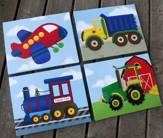 Conjunto de transporte 4 chicos 11 x 14 estira lienzos niños lienzo arte de pared de dormitorio