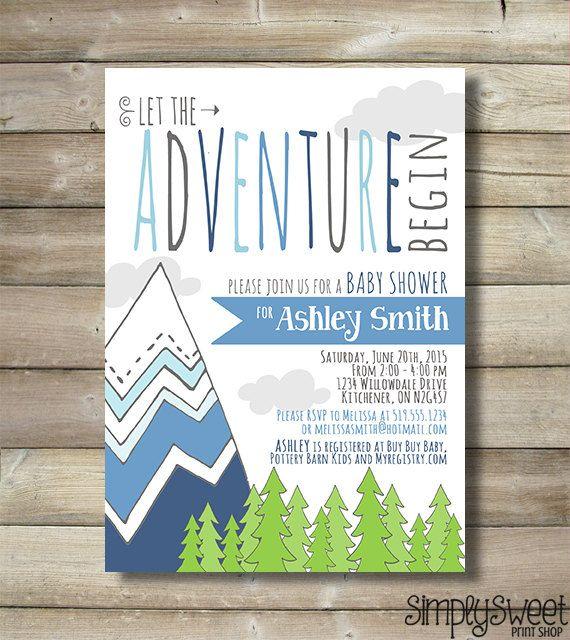 Adventure Baby Shower Invite Invitation by SimplySweetPrintShop