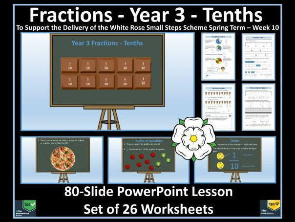 Year 3 Fractions / Tenths - PowerPoint Lesson and Set of 26 Worksheets To Support White Rose Maths