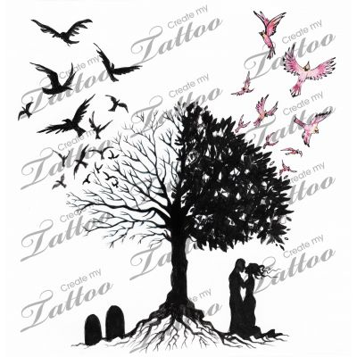 marketplace tattoo tree of life and death tattoo design by liza paizis 12059 createmytattoo. Black Bedroom Furniture Sets. Home Design Ideas