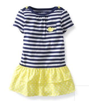 2-piece Striped Dress Set from Carter's.  A cap-sleeve print dress with double layer ruffled hem is a fun outfit and the coordinating diaper cover keeps her cute from top to bottom!   Get your rebate from RebateGiant.