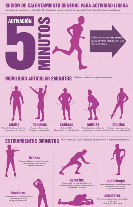 Hacer ejercicios de calentamiento por 5-10 min, ayuda a que mejore tu circulación
