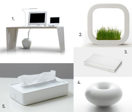 1. Aero by Balmuda. If I were to buy any desk, Inspired by airplanes, manufactured by laser-cutting steel, coated with glass.  2. Factory Planter by METAPHYS  3. Endless Notebook  4. Humidifier Ver. 3 by plusminuszero  5. Flat Tissue Box by Ideaco