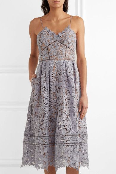 Self-Portrait - Laelia Guipure Lace Midi Dress - Lilac - UK12