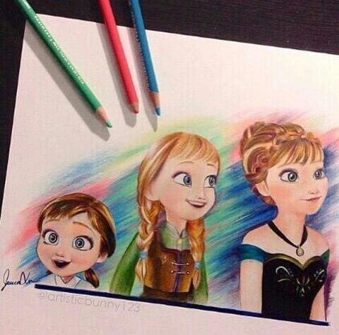 Frozen Disney movie colored pencils art