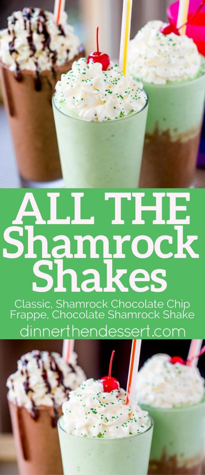 All The Shamrock Shakes from McDonald's made in all three minty ways they've released this year! Classic, Chocolate Shamrock Shake and Shamrock Chocolate Chip Frappe.