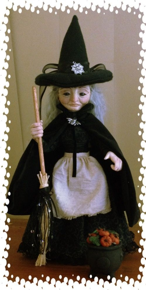 SOLD Maudie, OOAK original sculpted clay witch art doll by Kaye Schlenert of NednumFae Art Dolls www.facebook.com/nednumfaeartdolls
