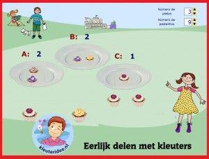 Bonbons eerlijk (ver)delen met kleuters op digibord of computer, kleuteridee, Preschool math for IBW or computer