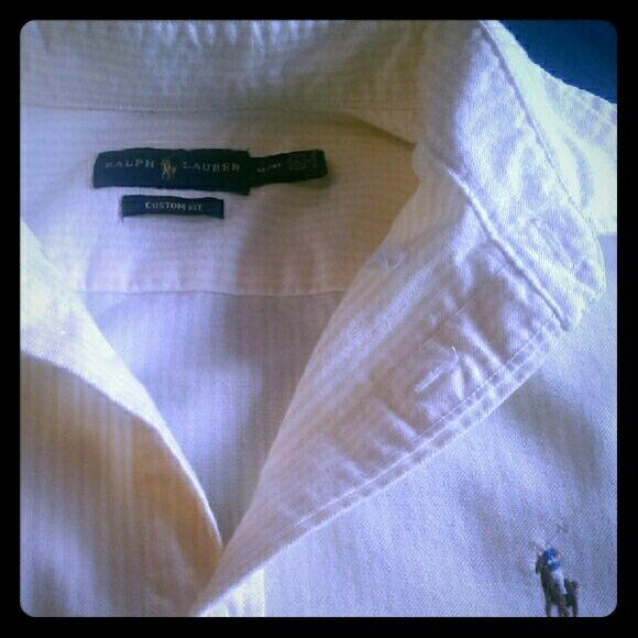 Women's Oxford Yellow and white striped custom fit oxford. Ralph Lauren Tops Button Down Shirts