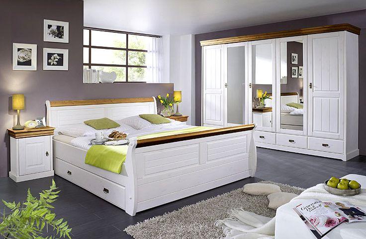 Schlafzimmer weiß honig - Kiefer Möbel Massivholz - Frankenmöbel - Schlafzimmerschrank Kiefer Massiv