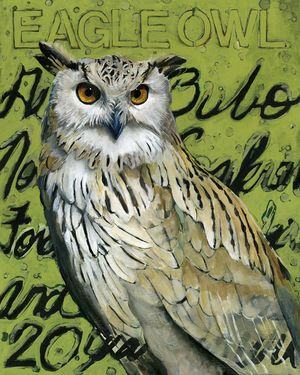 Original acrylic painting of an Eagle Owl by Angie Carrier