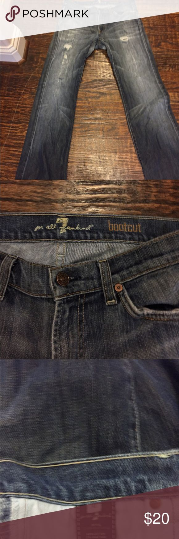 """Men's 7 for all mankind distressed bootcut jeans 7 for all mankind men's bootcut jeans.  Inseam:  30"""", patched in crotch area. 7 For All Mankind Jeans"""