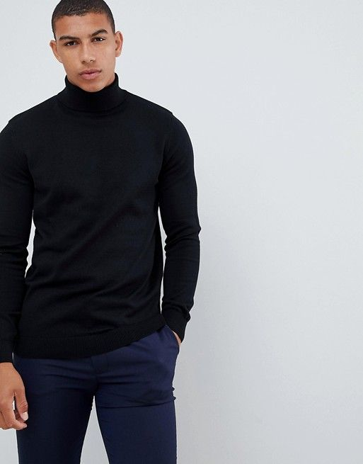 aff16f05687 New Look roll neck sweater in black in 2019