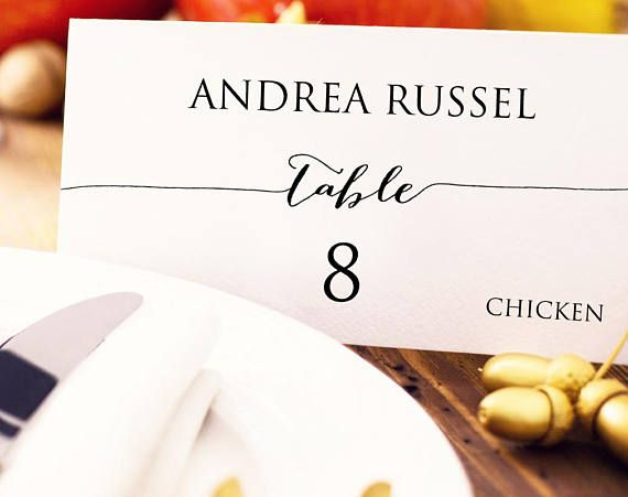 Place Card Template: Instantly download, edit and print your own place cards for weddings, receptions, and special events. There is room in the bottom right corner for additional wording. These templates are for printing onto quality card stock and can be trimmed on the crop marks.   This listing is for 2 digital PDF templates for you to download, edit and print using the free program Adobe Acrobat Reader. The templates do not fit any brand or pre-punched place cards (Avery, Gartner, etc...)