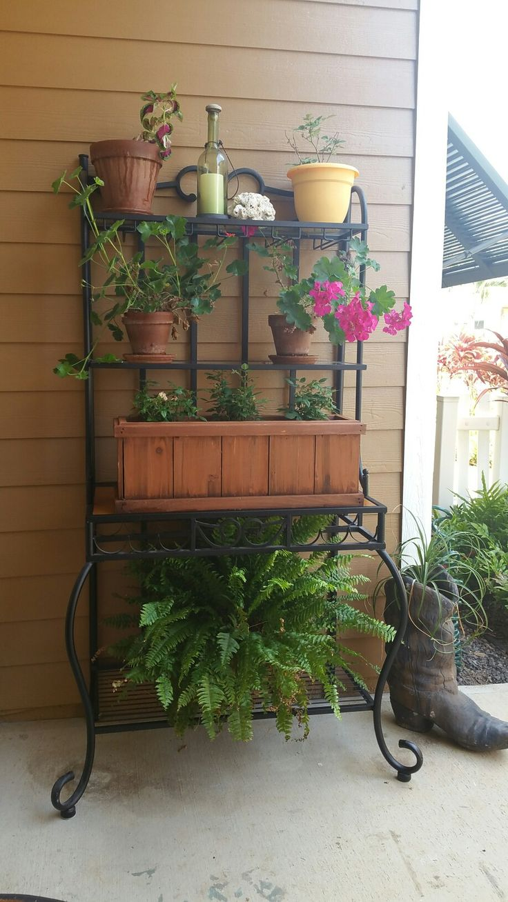 Repurpose Bakers Rack Front Porch Living Outdoor