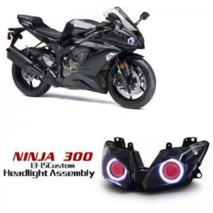 Kawasaki Ninja 250 300 LED Angel eye HID Projector Headlight Assembly 2013 2014 2015 2016