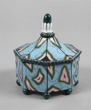 Fraureuth Deckeldose Art déco 1920er Jahre, grüne Stempelmarke Kunstabteilung, Dekornummer 23397