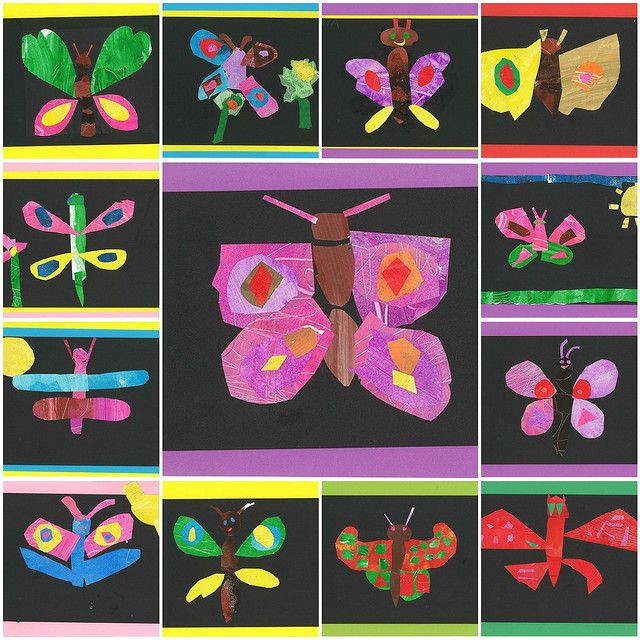 collage eric carle painting paper butterflies elementary art lesson