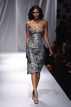 Elspeth Gibson | Spring 2000 Ready-to-Wear | 04 Grey floral strappy midi dress