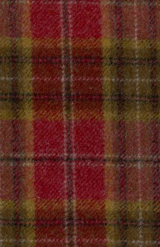 Lomond Check Fabric Red Yellow And Brown Wool Check