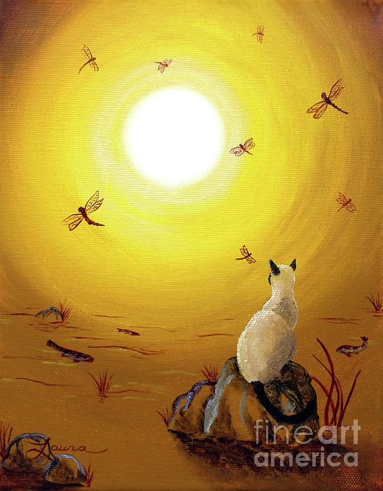 Siamese Cat With Red Dragonflies by Laura Iverson
