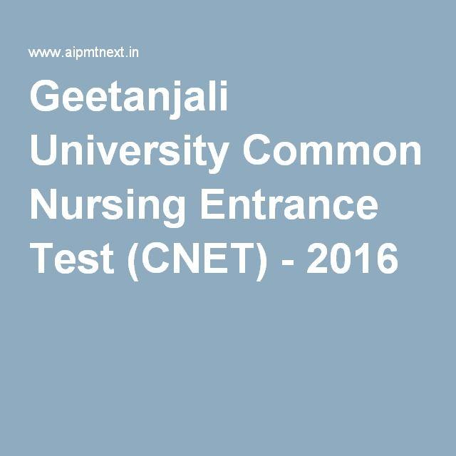 Geetanjali University Common Nursing Entrance Test (CNET) - 2016
