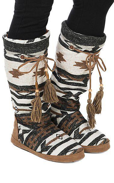 Blazin Roxx Women's Brown, Black and White Tall Slippers | Cavender's