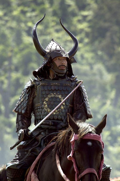 Horned samurai on horse