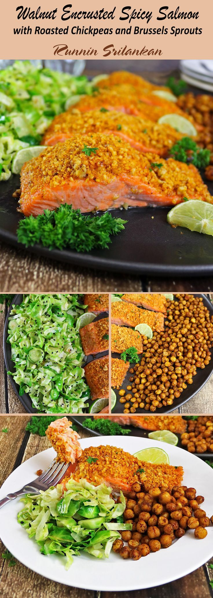 Walnut Encrusted Spicy Salmon with Roasted Chickpeas and Brussels Sprouts #ad #BeHeartHealthy @qunolCoQ10