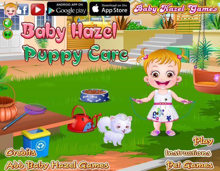 Play Baby Hazel Puppy Care to enjoy taking care of naught puppy, Bruno. Help Baby Hazel to pamper him with his favorite food and building doghouse for him. http://www.babyhazelgames.com/games/baby-hazel-puppy-care.html
