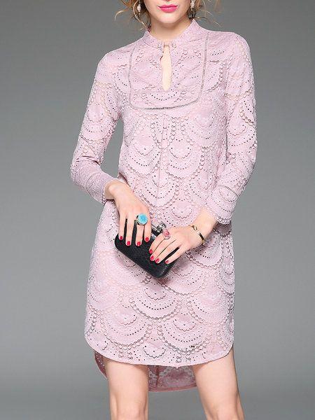 Shop Mini Dresses - Pink Elegant Lace Mini Dress online. Discover unique designers fashion at StyleWe.com.