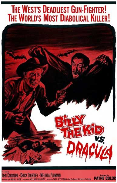 A great poster from the B-Movie horror classic Billy the Kid vs Dracula! Shown on a double-bill with Jesse James Meets Frankenstein's Daughter. Ships fast. 11x17 inches. Need Poster Mounts..?
