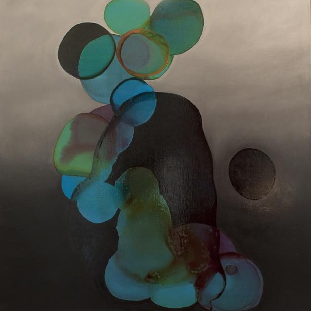2012-018 • creation - lény 2 - 100 x 100 cm - oil and lacquer on canvas - olaj, lakk, vászon - romvári márton contemporary art