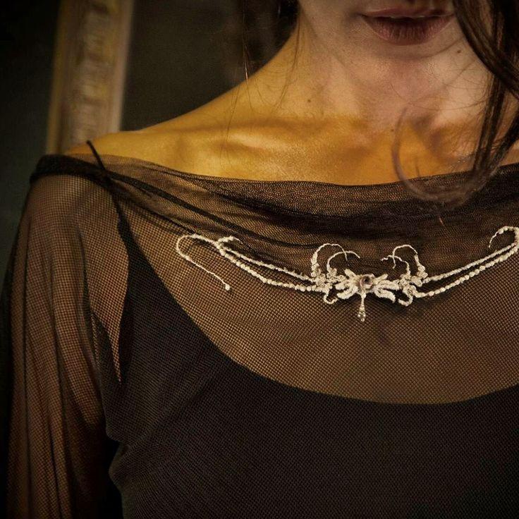 Tulle Shirt, handmade embroidery.  Atelier Natalie Capell Barcelona
