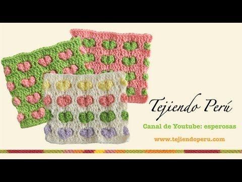Punto con corazones en relieve para tejer a crochet - YouTube