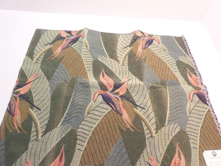 """Tropical Upholstery Fabric The Peacock Collection Paradisio Tropical 28"""" x 23"""" Cotton Polyester + FREE SAMPLES!!! by Fabricsamples10 on Etsy"""