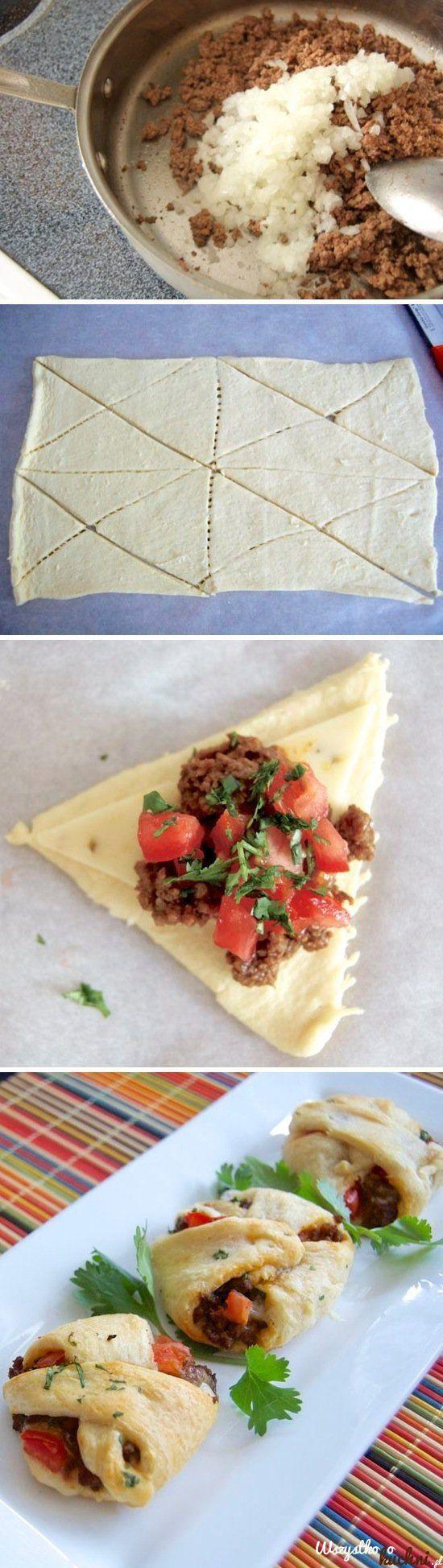 Zobacz jak zrobić francuskie bułeczki z mięsem mielonym i pomidorami...