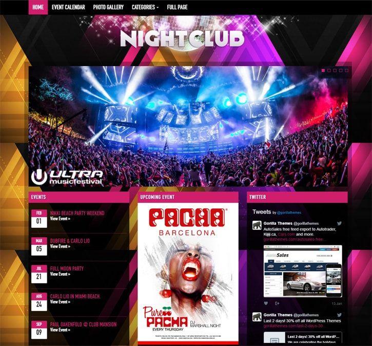 wordpress music theme nightclub