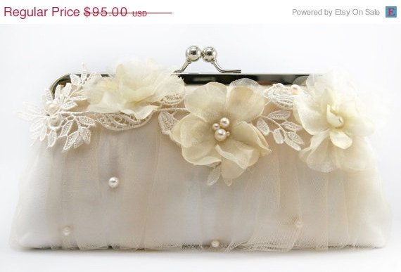 Bridal Clutch with Alencon Lace Organza Flower in by ANGEEW, $66.50