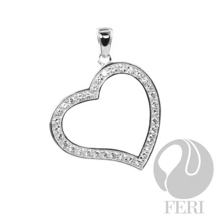 An amazing item from the FERI designer lines collection for $150 only at 20% off.  This piece is 925 fine sterling silver with a 0.5 micron natural rhodium plating. This heart shaped piece is also set with AAA white cubic zirconia.  Our new customers enjoy a $15 shopping credit and upto 10% rebate on purchases.  We are also hiring and expanding our team so if you are looking to make some additional income on the side & be part of an exciting industry visit http://opportunity.feristore.com