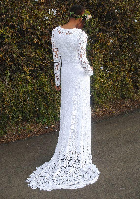 BOHO WEDDING DRESS. Simple Crochet Lace by Dreamersandlovers