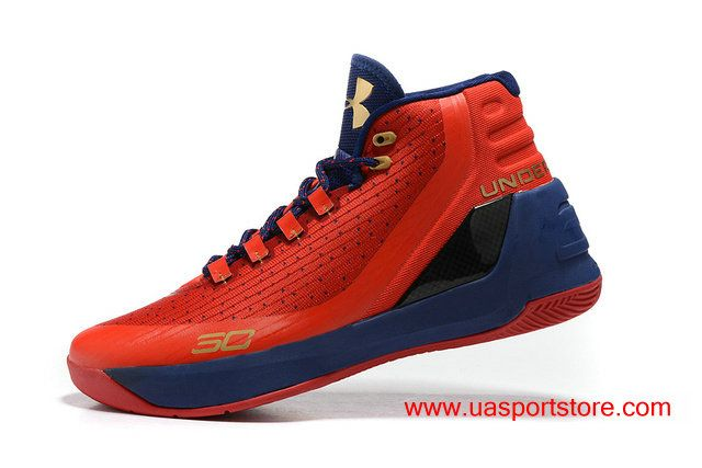 Men's Under Armour Curry 3 Red Dark-blue Golden Logo UA Basketball Shoes
