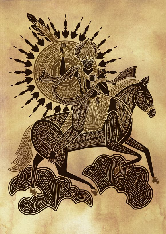 (10th and last coming avatar of Lord Vishnu) Kalkin. On a white horse, he will judge the world in the future.