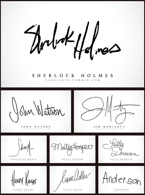 Most of the character's signatures. Very accurate. Especially Anderson's. #Sherlock