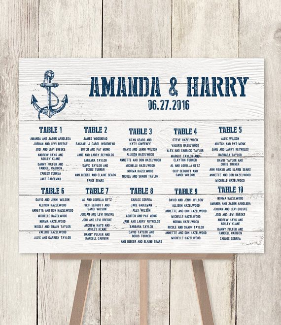 10% OFF with coupon code PIN10 ~ Nautical Wedding Seating Chart DIY /  Nautical by JadeForestDesign