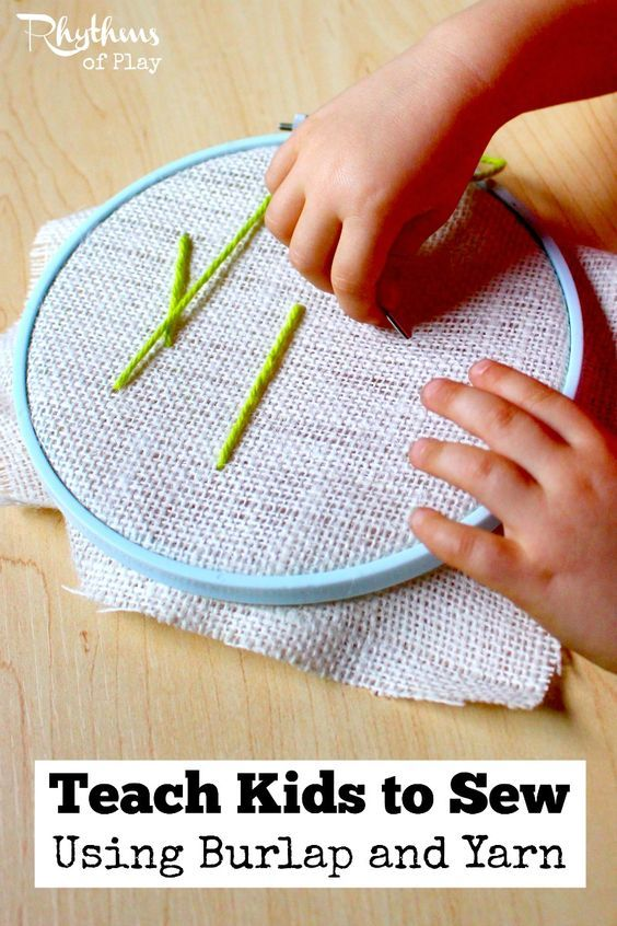 Teach kids to sew using burlap and yarn for an easy first lesson in the mechanics of sewing for preschoolers and up. Learning how to sew on burlap is a great sewing lesson for beginners. Sewing with kids on burlap is a fun fine motor activity to practice before trying more advanced forms of handwork. This technique is often used in Waldorf education and in Montessori education.