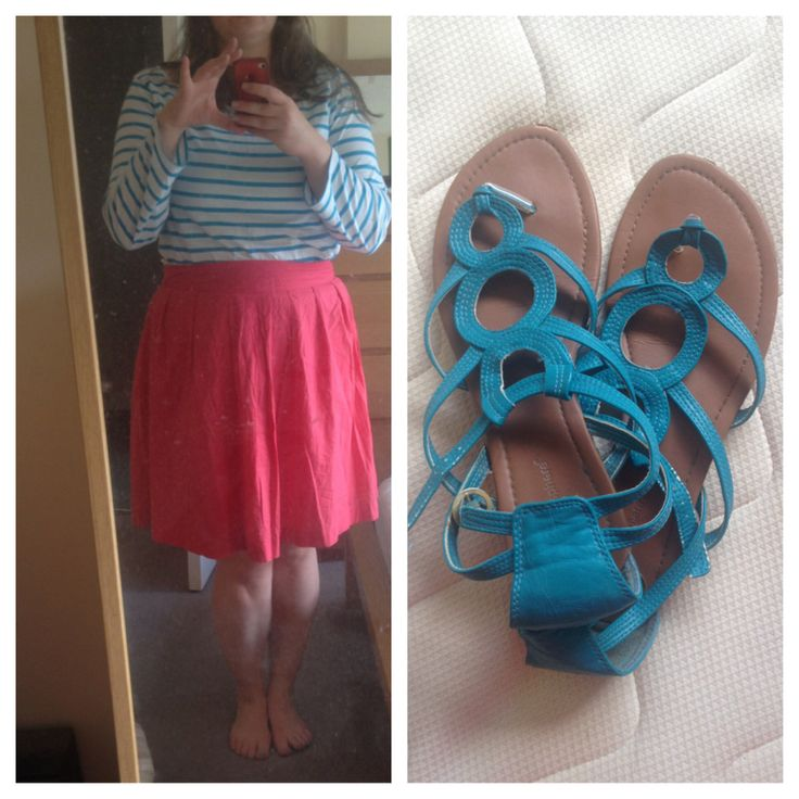 Smart casual outfit: striped tee from H&M, pink skirt from Vero Moda & aqua gladiator sandals from Penneys (Primark).