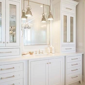 Bathroom vanity cabinets with Antiqued Mirrored Doors